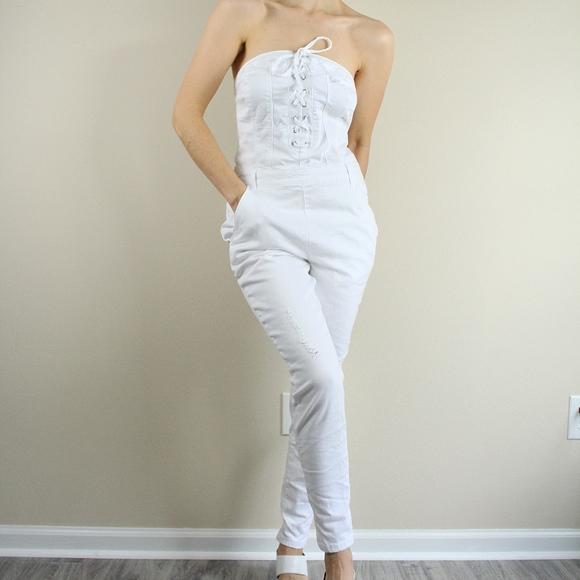 Venus Pants New Lace Up Denim Jumpsuit White Poshmark